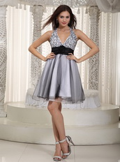 Gray Halter Mini-length Organza Prom Dress With Black Sash Knee Length Sexy