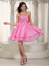 Hot Pink Beaded Prom Dress With One Shoulder Short Skirt Knee Length Sexy