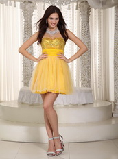 Bright Yellow Mini Prom Dress With Sequin Paillette Bodice Knee Length Sexy