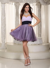 Mini-length Lilac Short Prom Dress With Sweetheart Neck Knee Length Sexy