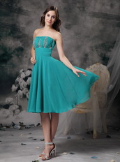 Empire Strapless Knee-length Turquoise Chiffon Prom Dress Knee Length Sexy