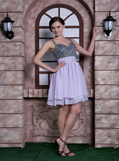 Lilac Spaghetti Straps Knee-length Dresses For Homecoming Knee Length Sexy