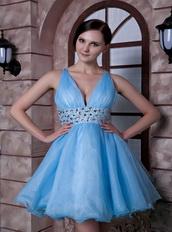 Aqua Blue V-neck Short Dress Handmade Beaded For Girl Knee Length Sexy