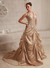 Halter Top Neck Taffeta Champagne Wedding Dress With Embroidery Pregnant