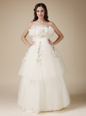 Strapless Cream Layers Maternity Wedding Dress Fashional Pregnant