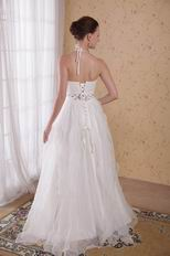 Cheap Maternity White Halter Wedding Dress With Rhinestones