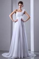 Elegant One Shoulder Maternity Wedding Dress With Feather