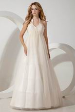 Cheap Halter Side Zip Champagne Maternity Wedding Dress