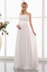 Simple Strapless Empire Ivory Maternity Wedding Dress