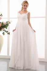 Straps Ivory Chiffon Maternity Dress For Bride Wear