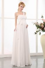 Decent One Shoulder Cream Maternity Wedding Dress For Bride