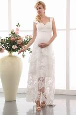 Pretty High Low Layers Maternity Wedding Dress With Applique