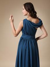 Asymmetrical Neck Steel Blue Mother Of The Bride Dress For Mama