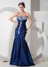 Peacock Blue Sweetheart Taffeta Dress To 2014 Prom Wear