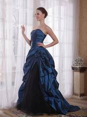 Floor Length Steel Blue Picks-up Prom Ball Gown 2014