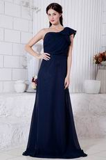 Cheap One Shoulder Chiffon Skirt Navy Blue Evening Dress