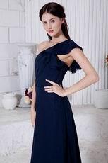 Cheap One Shoulder Chiffon Skirt Navy Blue Evening Dress