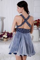 Super Hot V-Neck Cross Back Navy Blue Short Prom Dress