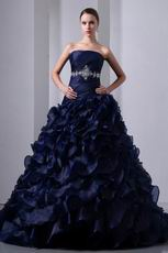 Layers Ruffles Skirt Navy Blue Ball Gown Quinceanera Dress