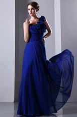 Flowers One Shoulder Strap Royal Blue Chiffon Jr Prom Dress