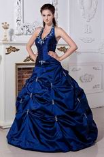 Best Halter Corset Dark Blue Prom Ball Gown With Embroidery