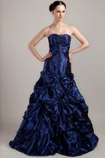 Sweetheart A-line Pick-ups Skirt Navy Blue Prom Ball Gown
