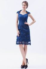 Navy Blue Junior Mama Of The Bride Dress With Applqiue