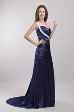 One-shoulder Inexpensive Navy Blue Prom Dress Under 150 Dollars