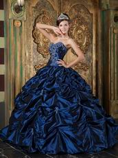 Sweetheart Picks-up Design Navy Blue Puffy Quinceanera Gown