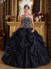 Black Picks-up Design Appliqued Puffy Quinceanera Dress
