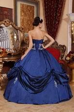 Navy Blue Puffy Floor Length Skirt Evening Ball Gown