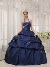 Navy Blue Halter Floor Length Designer Quinceanera Dress