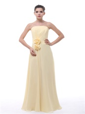 Rose 3D Flowers Decorate Waist Daffodil Chiffon Bridesmaid Group Dress