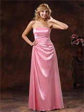 Rose Pink Elastic Woven Satin Strapless Bridesmaid Dress Low Price