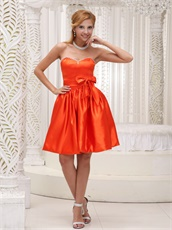 Orange Red Satin Acetate Sweet Girl Homecoming Dress With Bowknot