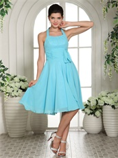 Lorman Aqua Blue Chiffon Dama Group Dress Under 70