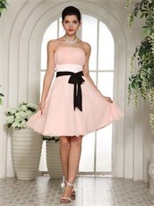 Strapless Girls Bridesmaid Dress Blush With Black Belt