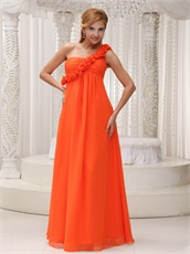 Left 3D Flowers One Strap Orange Long Empire Maternity Pregnant Dress