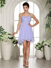 Summer One Shoulder Knee Length Chiffon Lavender Dress For Bridesmaid Group
