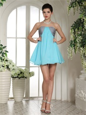 Aqua Blue and Silver Mini-length Bridesmaid Dress Wedding Ceremony