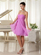 Nifty Lilac Chiffon Slit Skirt Bridesmaid Dress Customize Free