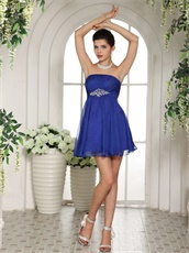 Empire Waist Royal Blue Bridesmaid Dama Dress With Crystal Belt