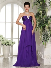New Look V Shaped Eggplant Purple Long Bridesmaid Dress Empire Waist