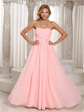 Stylish Ruching Blush Chiffon Bridesmaid Dress Rose Flowers Waist