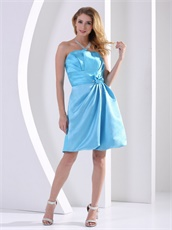 Girls Bridesmaid Dress Knee-length A-line Aqua Blue Satin