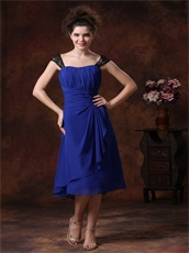 Royal Blue Wedding Guest Bridesmaid Dress Black Lace Wide Straps