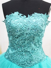 Turquoise Strapless Lace Bodice For Homecoming With Triangle Tulle Skirt