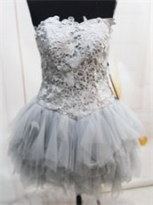 Silver Lace Knee Length Skirt For Dance Wear Cheap