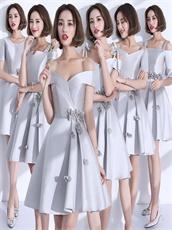 Series Neckline Silver Bridesmaid Dress Handmade Flowers From China