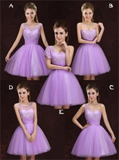 Series Design Lilac Lace Short Dama Dress Different From Each Other